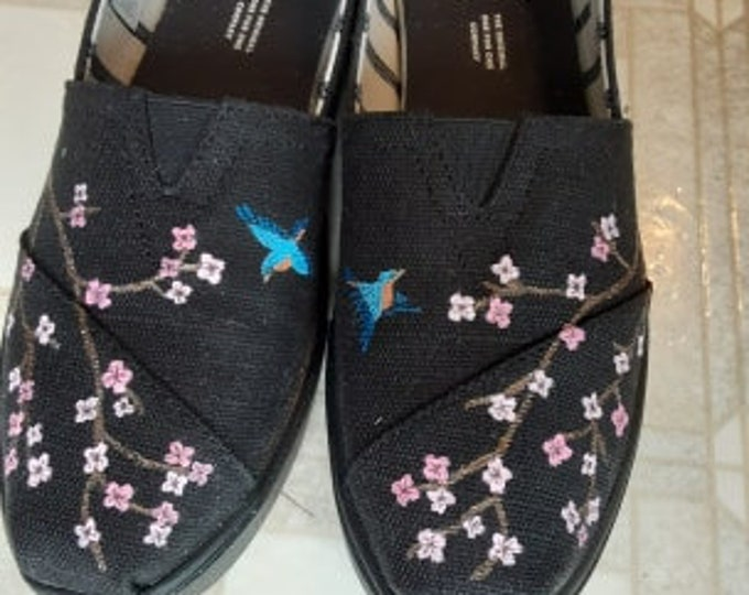 Example of Cherry Blossom With blue birds .....sorry sold. tom's shoes included