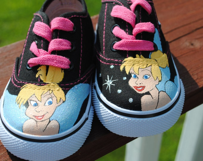 Custom Hand Painted Little Girls Tinker Bell shoes size 5 - sold