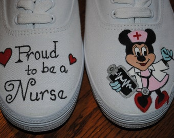 "For Sale New Nurse design "" Proud to be a Nurse""  Minnie Mouse cute hand painted sneakers size 9 READY TO SHIP"