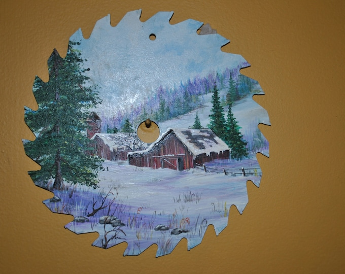 Hand Painted 7 inch Saw Blade with Wintry Barn Scene. - sold