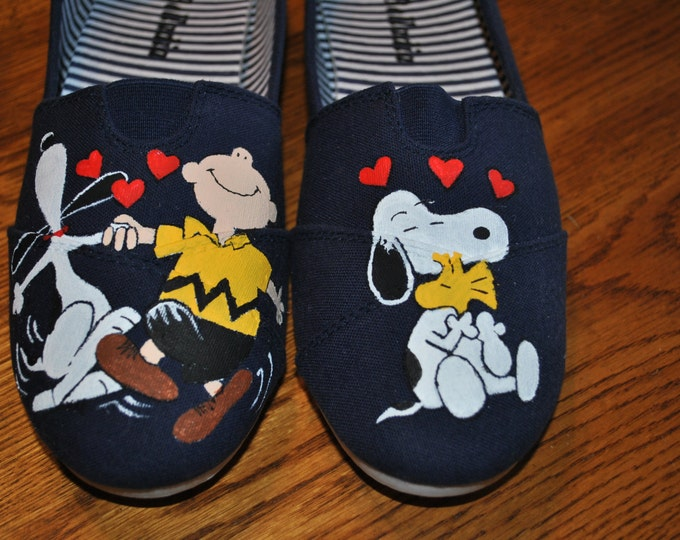 Custom Hand Painted Snoopy and Charlie Brown Happy Dance === size 9 ==== sold