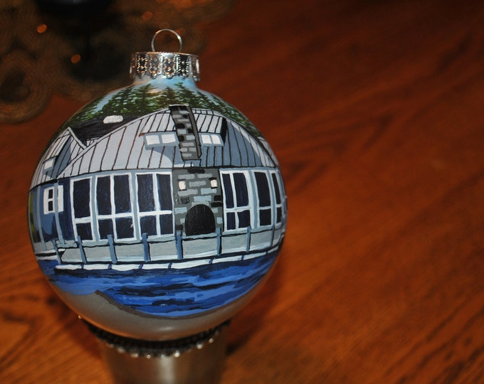 Custom Hand Painted Ornament Memories of Roaring Gap Boathouse.  sorry sold