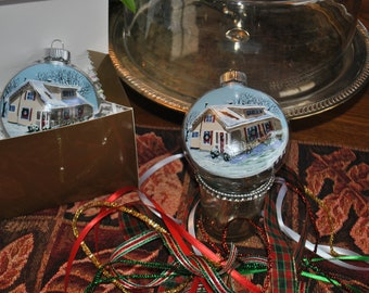 Custom Plastic Disc of Mom and Dad's Home Memory Ornament done for 2 Sisters from photo - sold