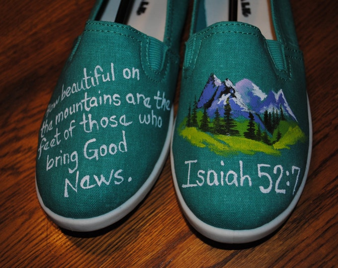 Bible Verse Hand Painted shoes Isaiah 52:7 - sold just for display