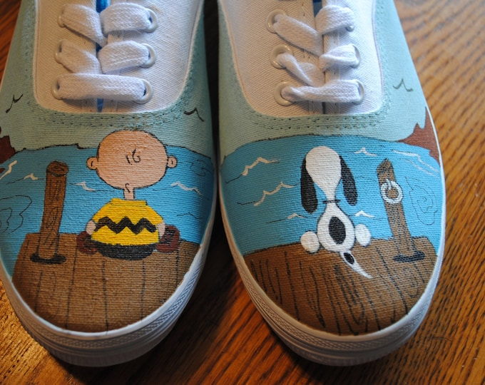 Just finished painting New Snoopy and Charlie brown at the dock..size 9 womens  - SOLD