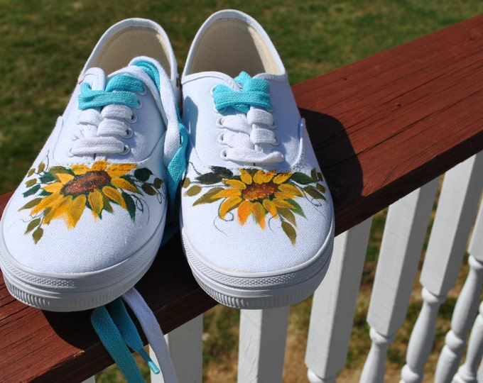 Pretty Sunflower size 7 W, hand painted Sneakers - (Sold)
