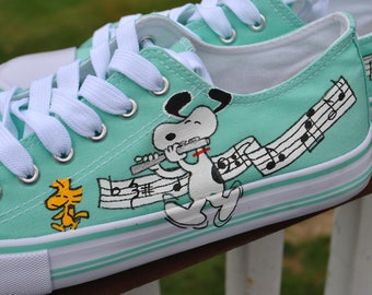 New Custom Hand Painted sneakers with snoopy playing the flute - sorry sold note customer provided the shoes