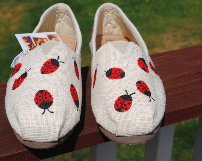 New Bobs linen slips on size 9w,  with Lady Bugs - NOT FOR SALE sorry one of a kind sold