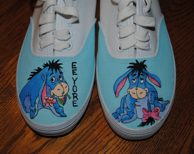 New Custom Hand painted shoes Eeyore  NOT FOR SALE sold - - just for display