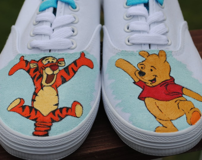 New Hand Painted Bouncing Tigger and Dancing Pooh size 7... note this is just a sample SOLD
