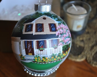 Custom Hand Painted Ornament of Family Home Memories = sold
