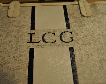 Custom Hand Painted Goyard Bag provided by customer with Initials  -  sold just for display