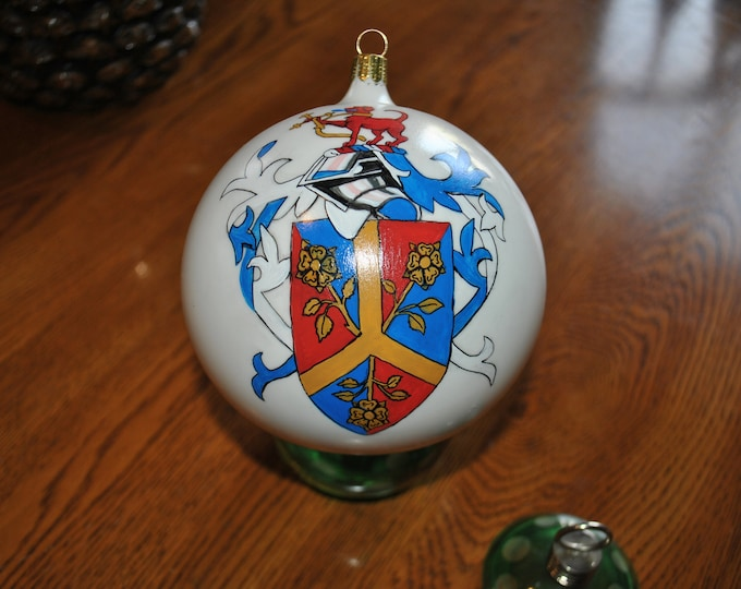 Hand Painted COAT OF ARMS - Adams-     sorry sold..., Christmas ornament hand painted on hand blown Ornament made in Germany