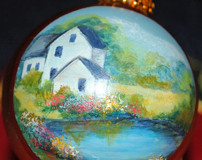 Hand Painted Ornament By a Lake in the spring time