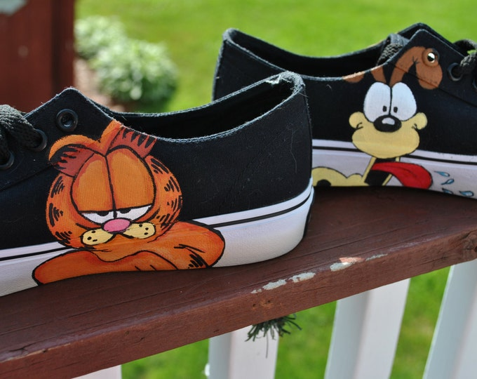 Funny Hand Painted Airwalk Sneakers Garfield and Odie size womens 7.5 -sold