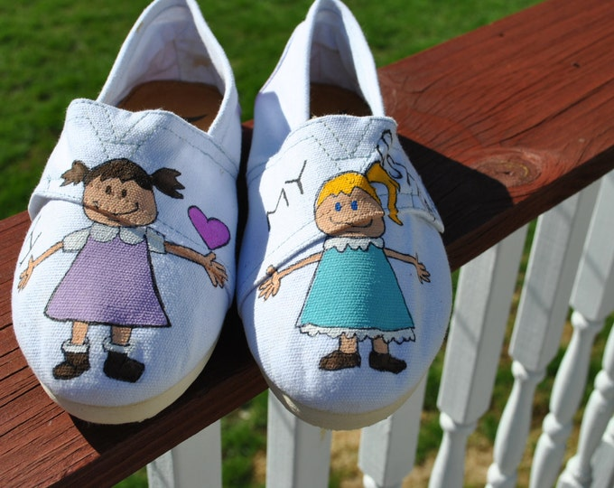 ON SALE Sisters Hello I Love My Sister hand painted  Tom like sneakers size 8.5 ready to ship