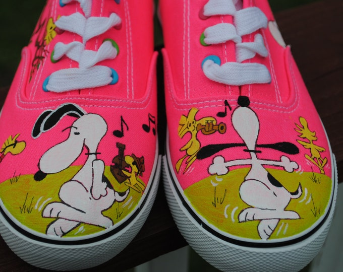 Dancing Snoopy Hand Painted Hot pink girls size 5   -   sold