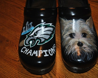 Custom Hand Painted Nursing shoes, Philadelphia Eagles Championship Shoes, with her other passion her doggie... sorry sold