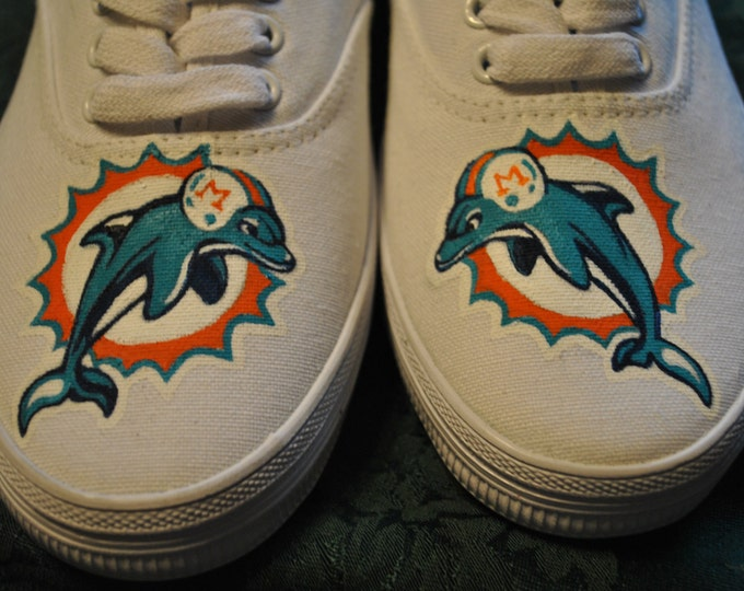 Custom Hand Painted Miami Dolphins sneakers size 7- Sold