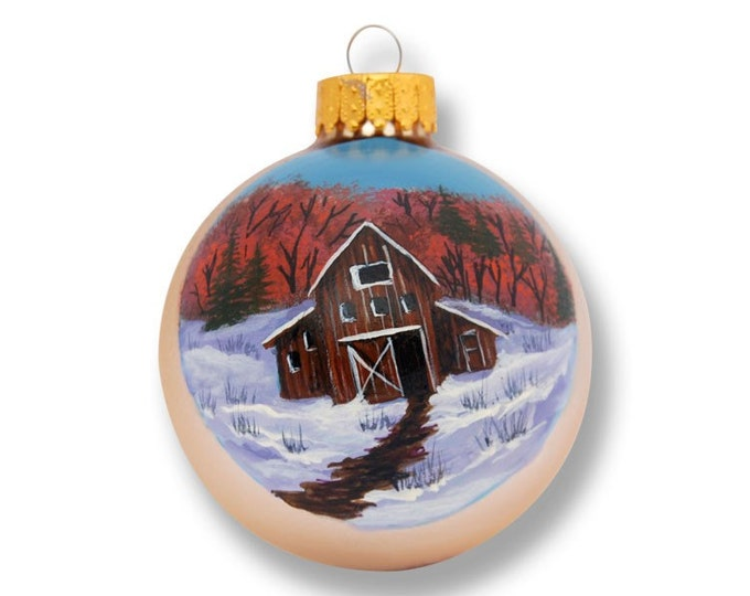 Old Barn first day of winter handpainted on a matt gold glass ornament
