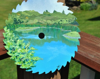New Custom Hand Painted saw blade cali Pond full of memories - sold