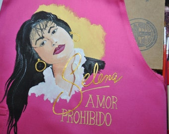 New Custom Hand Painted personalized Selena Apron, size for 5 yr old toddler.  sorry sold