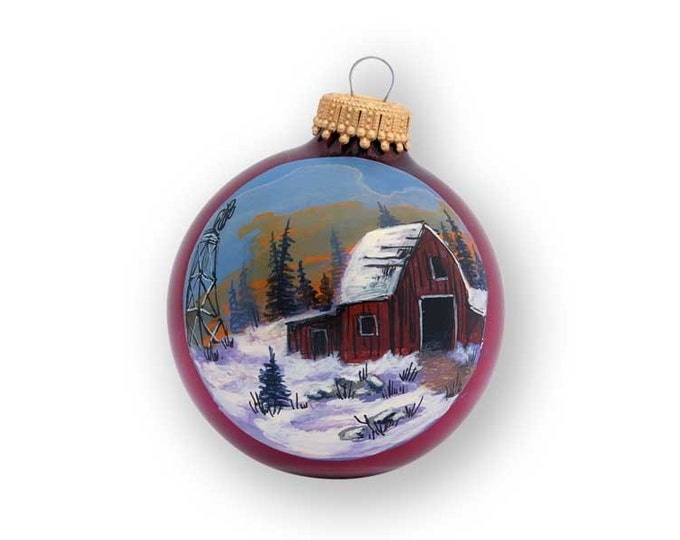 Hand Painted Ornament of Old Barn and Windmill