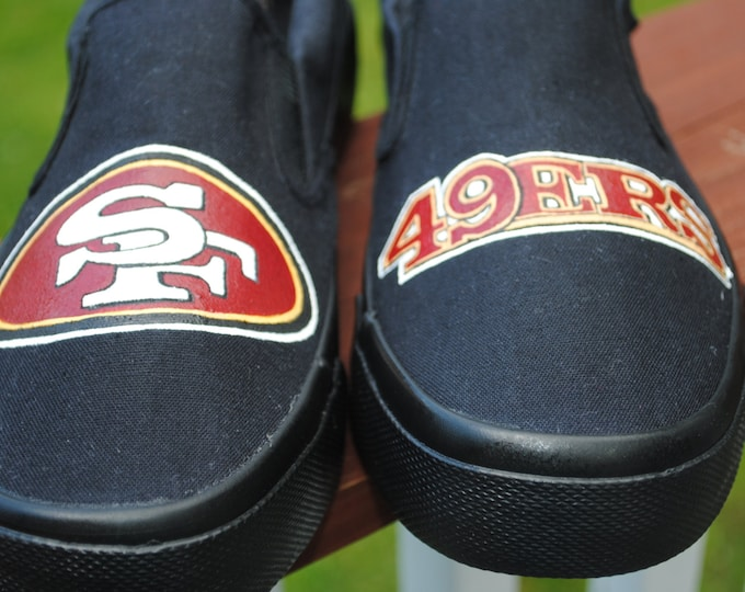 New Design Custom Hand Painted Sneakers San Fran 49ers size mens 9.5 - SOLD