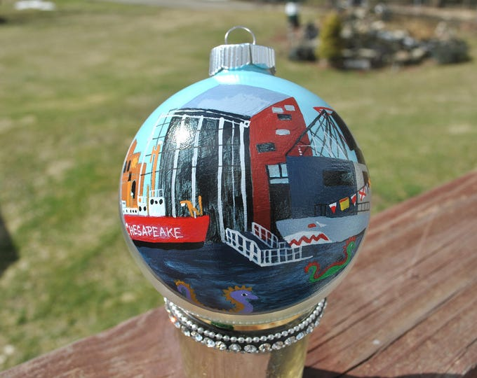New Custom Hand Painted Ornament of Baltimore's Inner Harbor  - sold