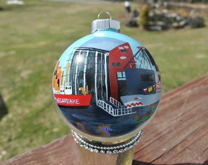 New Custom Hand Painted Ornament of Baltimore's Inner Harbor  - sold