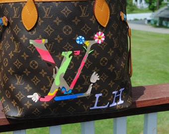 Custom Hand Painted  LV Louis Vuitton hand bag ----- customer supplied the bag--sold
