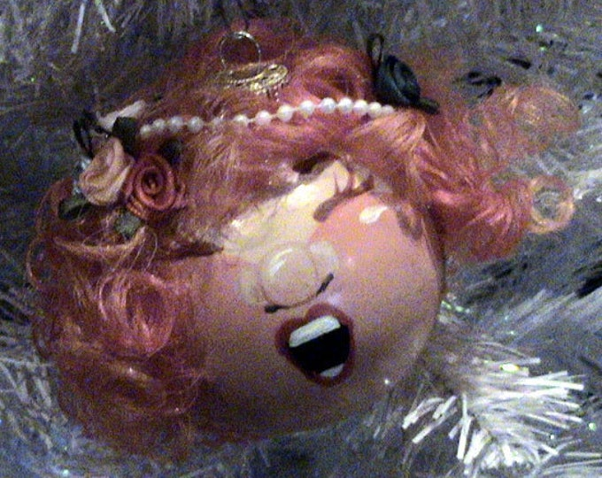 Beautiful Hand painted Angel with orange and Red Highlights Pinky