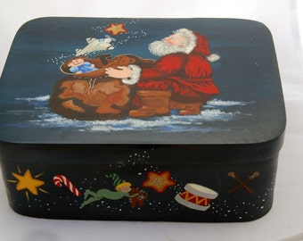Handpainted Blue Box with Santa and his goodie bag - sold