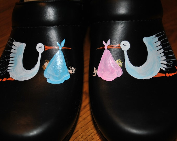 Custom Stork delivery shoes for L&D Nurses out there - sorry sold just a sample of what can be done. customer provided the shoes