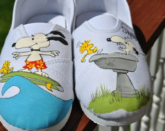 Funny Snoopy and Woodstock Hand painted sneakers size 8 -SOLD