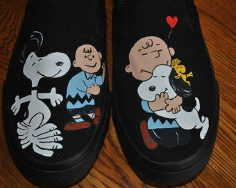 READY to SHIP Mens size 7.5 Womens size 9.5 Snoopy dancing and snoopy the love dog  FOR Sale