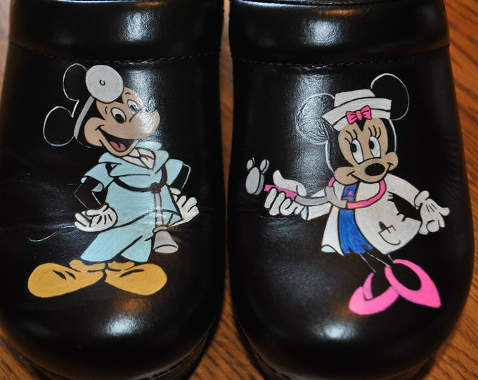 New custom hand painted nursing shoes w/ Mickey and Minnie mouse as Nurses   - sold customer provided the shoes