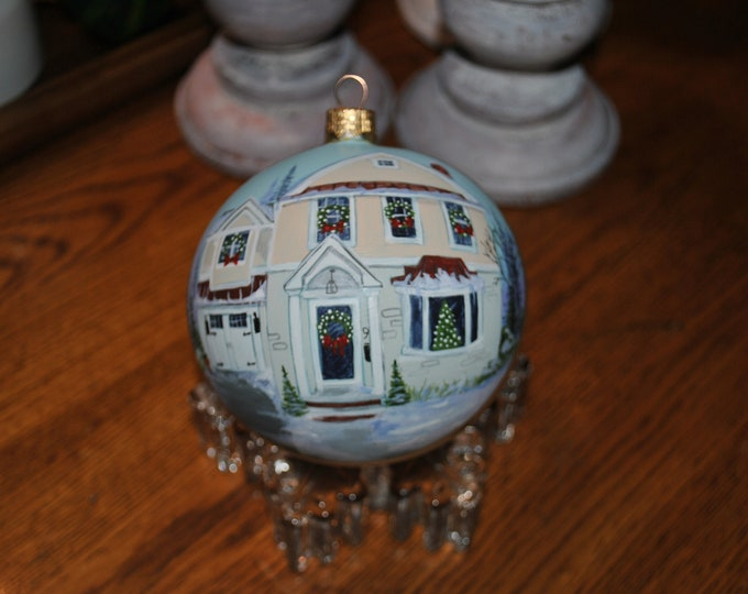Custom Hand Painted Christmas Ornament of Home, Done from photo... added Christmas Decor  -  sorry sold