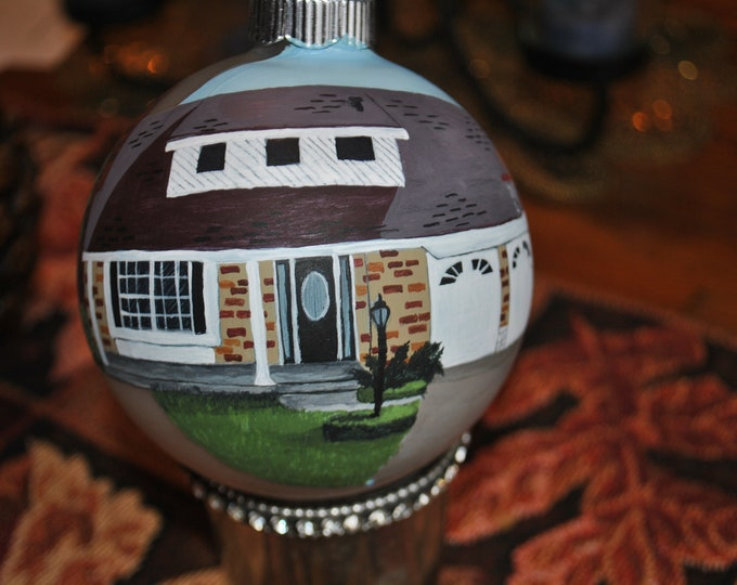 Memory Hand Painted Ornament customized with Dad's home complete with magnolia wreath on the back his favorite  sold