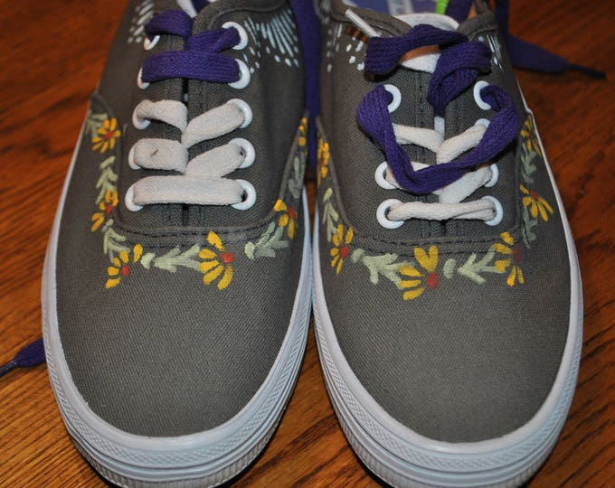 For Sale Cute size 5 gray hand painted sneakers  READY TO SHIP