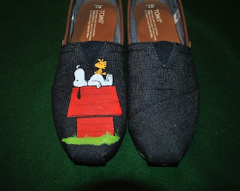 Custom Hand Painted Snoopy design... snoopy on his house on Mens Toms denim and leather.. sorry sold