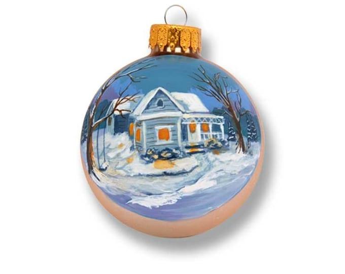 Home Sweet Home Winter Scene on gold matt glass ornament