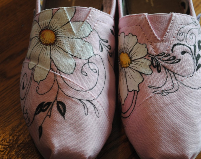 New Pink Icing Toms sneakers with daisies and swirls - sold these are just a sample of what can be done