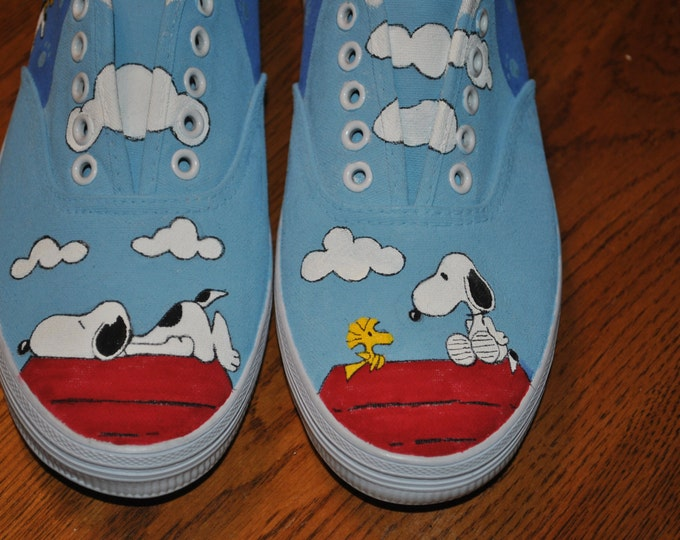 New Fun Design Hand Painted Snoopy and Woodstock size 7 - SOLD