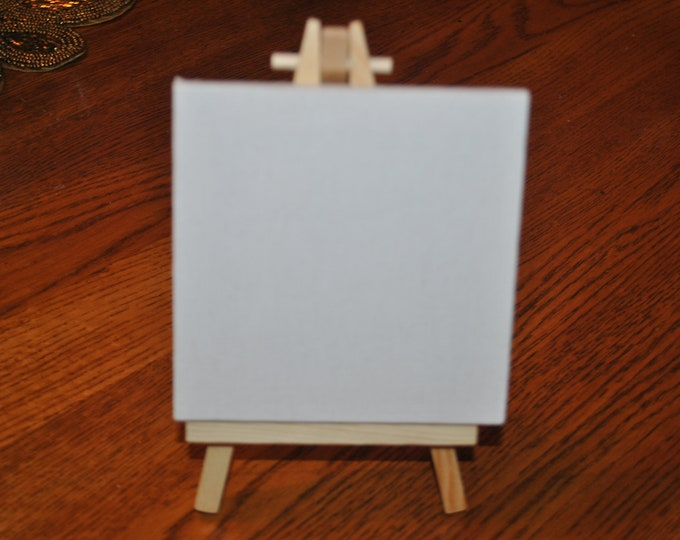 "New Product a 4""X4"" canvas with easel. Ready for your Custom Hand Painted project."