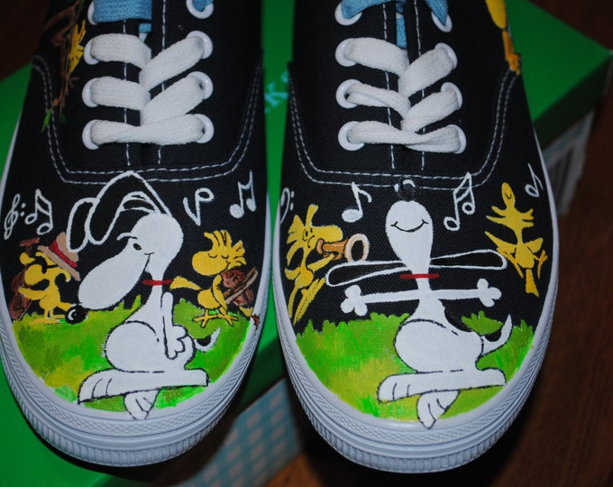 Custom Hand Painted Snoopy Musical Sneakers womens size 8  - sold.. note this is sample only