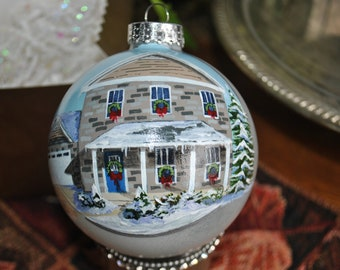 Custom Hand Painted 4 inch glass ornament done form picture.  - sorry sold