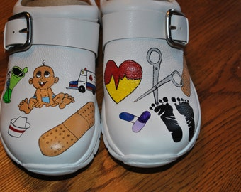 new Custom Hand Painted  PEDS Nurses clogs ------- sold customer provided the clogs