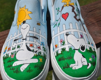 0c45d832f1c556 Snoopy Custom Hand Painted Vans sneakers snoopy shoes