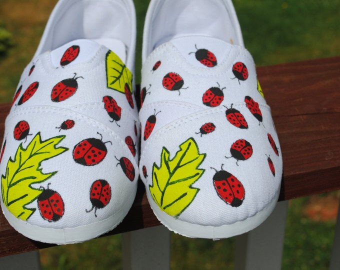 Custom Hand Painted size 9 slip ons with lots and lots of Lady Bugs -sold